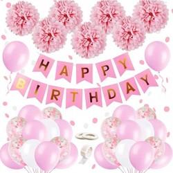 Happy Birthday roze met witte ballonen en slinger set XXL