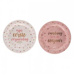 Eerste verjaardag bordjes wit en roze met donker roze en gouden opdruk
