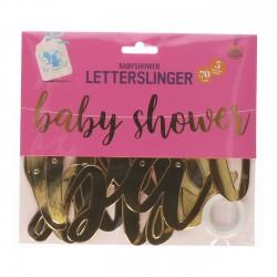 Babyshower letterslinger van glanzend goud folie karton