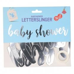 Babyshower letterslinger van glanzend zilver folie karton