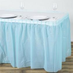 Plastic tafelrok licht blauw