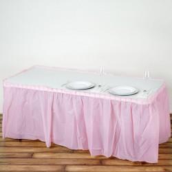 Plastic tafelrok licht roze
