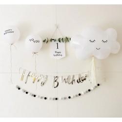 Happy First Birthday Set Wit met Zilver 6-delig