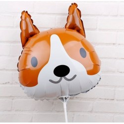 Folie ballon Cute Dog bruin met wit