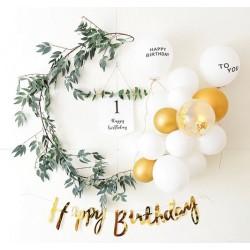 Happy First Birthday Set Wit met Goud 18-delig