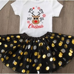 Baby kerst set Rendier met zwart tutu en witte romper