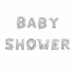 Ballonnen set Babyshower zilver folie