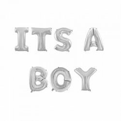 Ballonnen set It's a Boy zilver folie