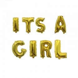 Ballonnen set It's a Girl goud folie