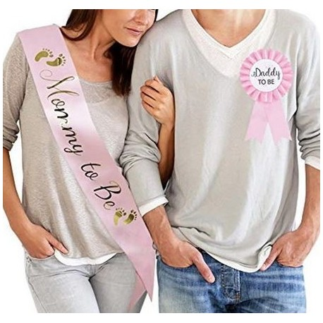 Babyshower set Sjerp Mommy to Be en rozet Daddy to be roze