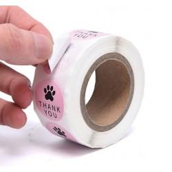 Licht roze stickers met honden poot en de tekst Thank You