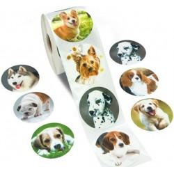 Gekleurde honden poot sticker per stuk of per rol