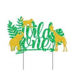 Eerste verjaardag taart topper Wild One Jungle