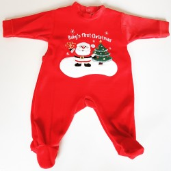 Baby's First Christmas velours kerstpakje rood