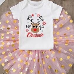 Baby kerst set Rendier met roze tutu dots en witte romper