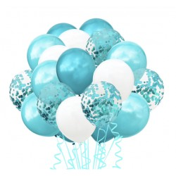 Confetti ballonnen set 20 delig blauw met wit
