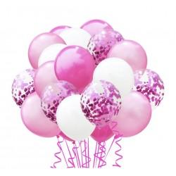 Confetti ballonnen set 20 delig roze met wit