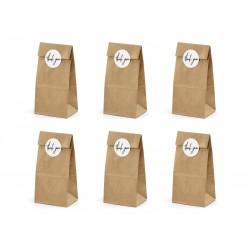 6 trendy kraft papieren giftbags en 6 ronde witte stickers met Thank You
