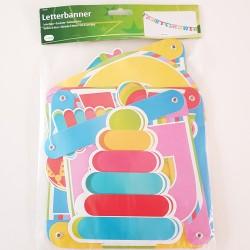Grote letterbanner Babyshower in vrolijke kleuren