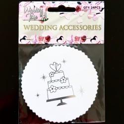 Pak met 24 wit met zilveren onderzetters Weddingcake