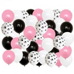 Honden ballon mix roze wit zwart 40-delig