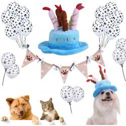 Honden verjaardags set 22-delig roze of blauw