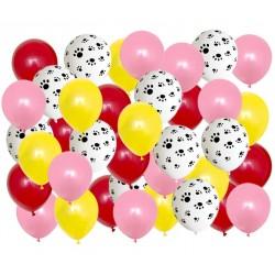 Honden ballon mix roze rood geel 40-delig