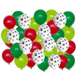 Honden ballon mix groen rood en wit zwart 40-delig