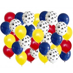 Honden ballon mix rood geel blauw 40-delig