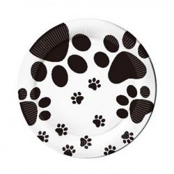 Bordjes wit met zwarte honden pootjes