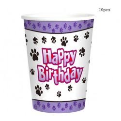 Pak met 10 honden bekertjes lila met zwart wit