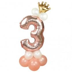 Ballonset Crown 3 rose goud 13 delig