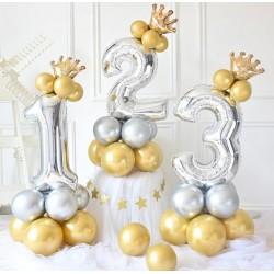 Ballonset Crown zilver en goud 13 delig