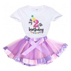 2-delige luxe verjaardag set Happy Birthday Pink Purple and White