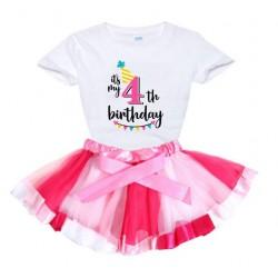 2-delige luxe verjaardag set Happy Birthday Pink and White