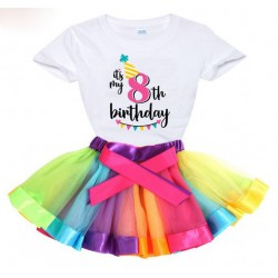 2-delige luxe verjaardag set Happy Birthday Rainbow and White