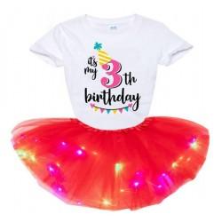 2-delige luxe kinder verjaardag set Happy Birthday met rode tutu met LED lichtjes