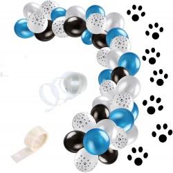 Ballonboog kit Dogs blauw of roze met wit en zwart 47 delig