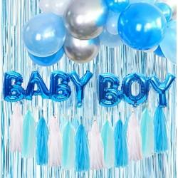 Baby Boy decoratie set blauw wit en zilver
