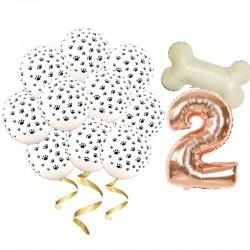 Honden ballonnen set verjaardag rose goud 10 delig