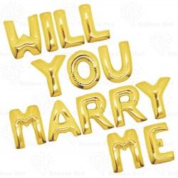 Ballonnen set Marry Me goud of rose goud of zilver 14-delig