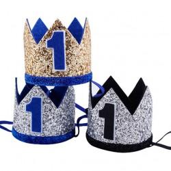 Aandoenlijk glitter hoedje voor de eerste verjaardag van de hond blauw