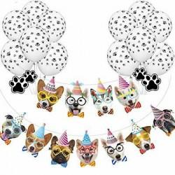 Banner XL Happy Birthday Dogs met 10 ballonnen met honden pootjes