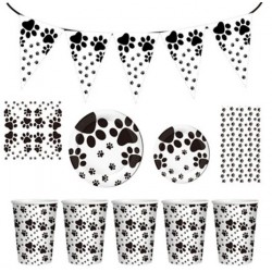 Black and White Dogs party set XL 76 delig