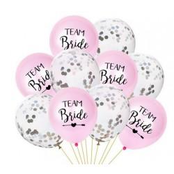 Ballonnen set 10 delig Team Bride roze met zilver