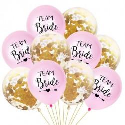 Ballonnen set 10 delig Team Bride roze met goud