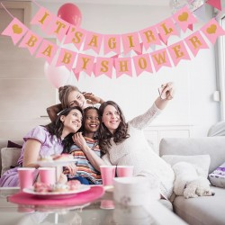 Gender reveal banner set It's a Girl en Babyshower roze met goud
