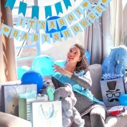 Gender reveal banner set It's a Boy en Babyshower blauw met goud