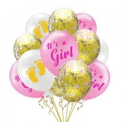 15 delige ballonnen set It's a Girl roze goud en wit