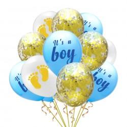 15 delige ballonnen set It's a Boy blauw goud en wit